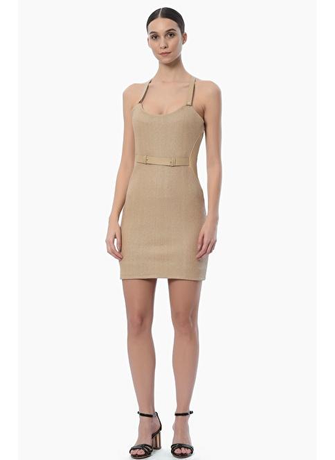 NetWork Askılı Fermuarlı Mini Elbise Bej